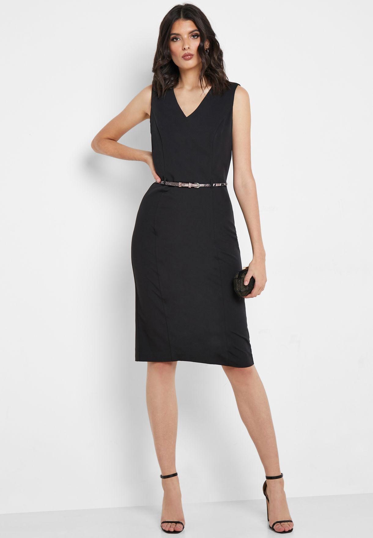 فستان (بينسل) بحزام افعى