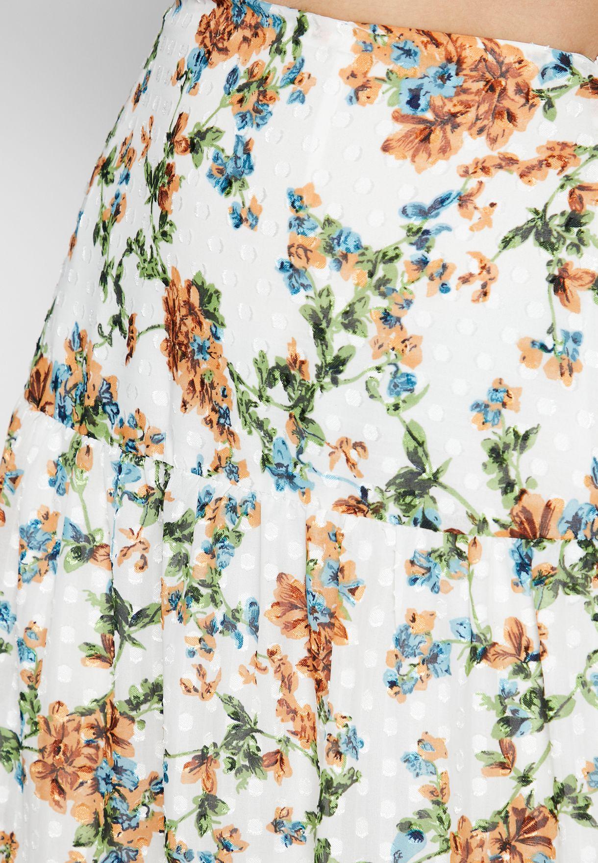 Pleat Detail Floral Print Skirt