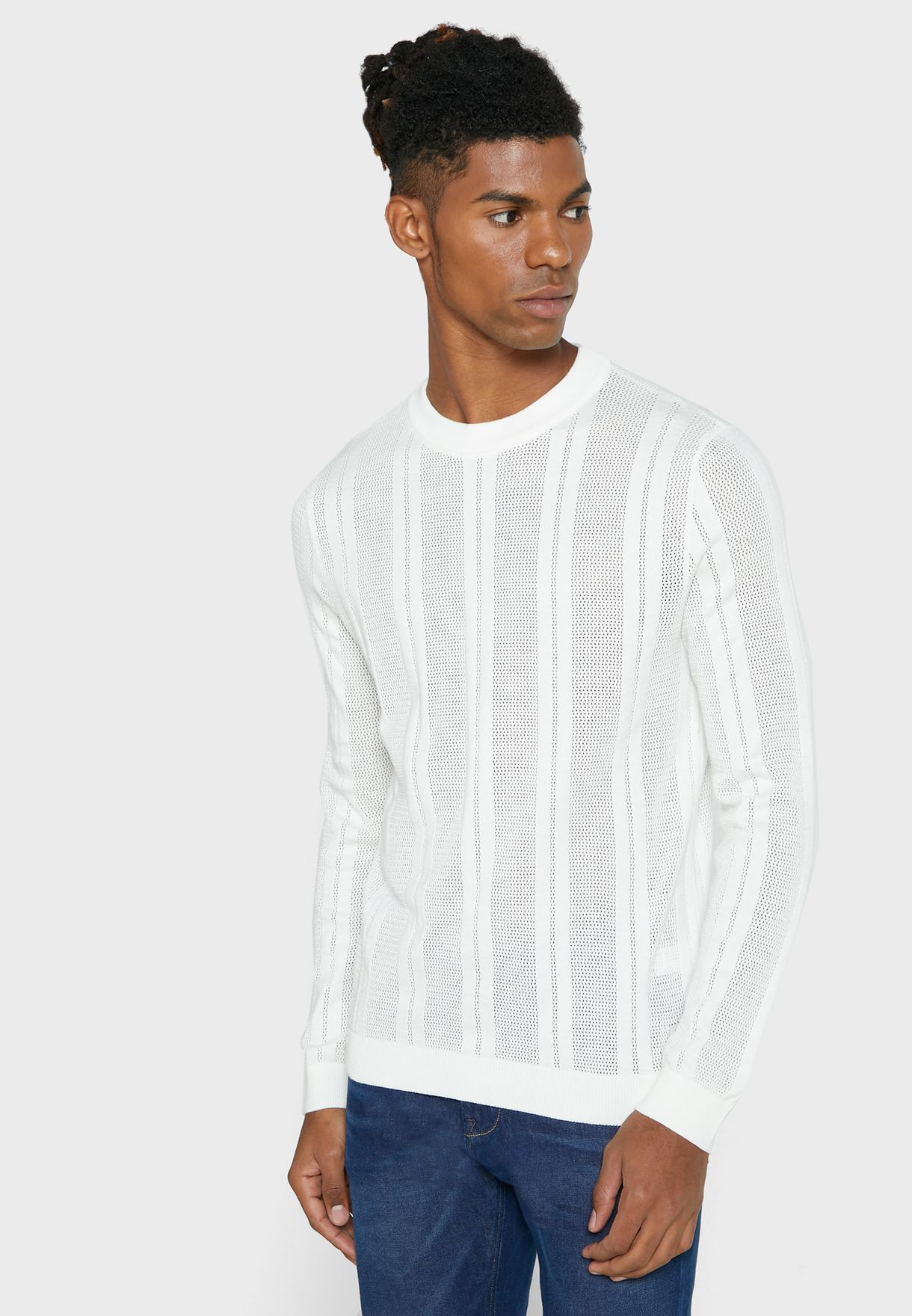 Mesh Stripe Knitted Sweater