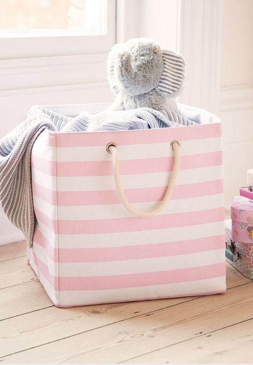 Striped Canvas Storage Cube