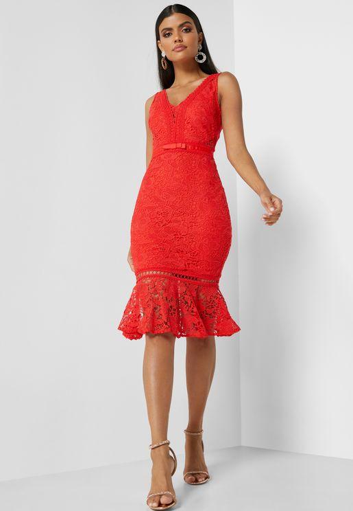 Lace Detail V-Neck Dress