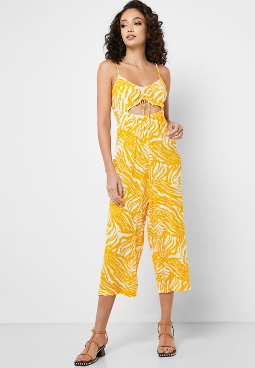 Ruched Detail Printed Jumpsuit
