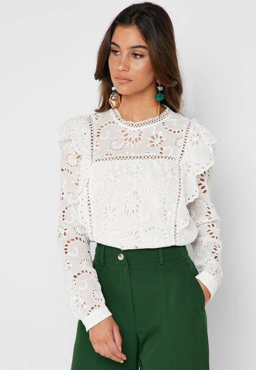 Laser Cut High Neck Top