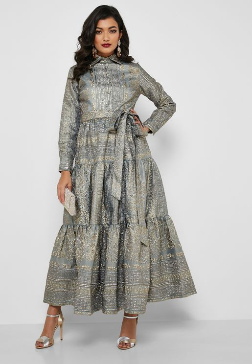 Tiered Belted Jacquard Dress