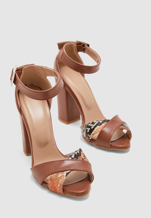 Ankle Strap High Heel Sandal - Browns