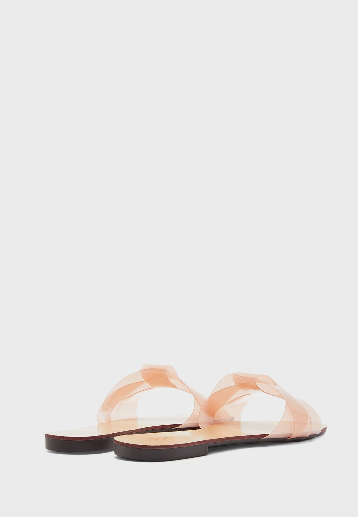 Woven Iridescent Strap Flat Sandal