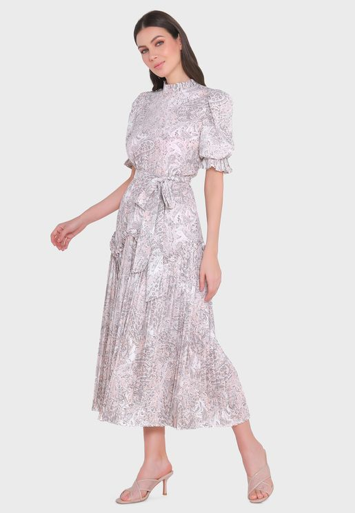 High Neck Pleated Shimmer Dress