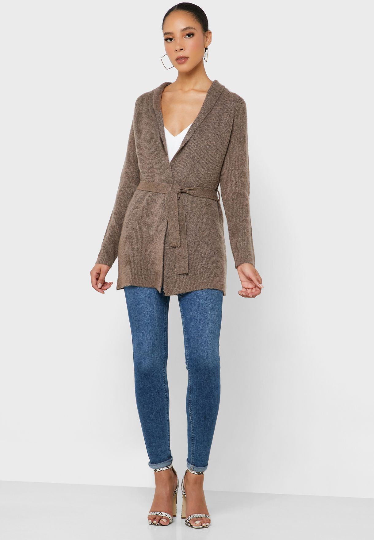 Belted Long Sleeve Cardigan