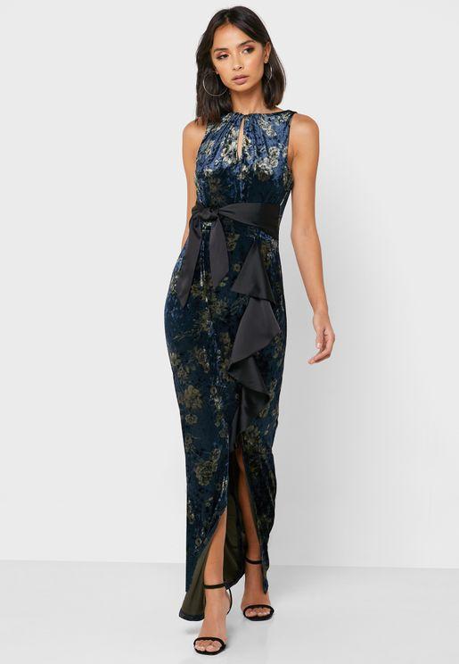 Front Split Velvet Dress