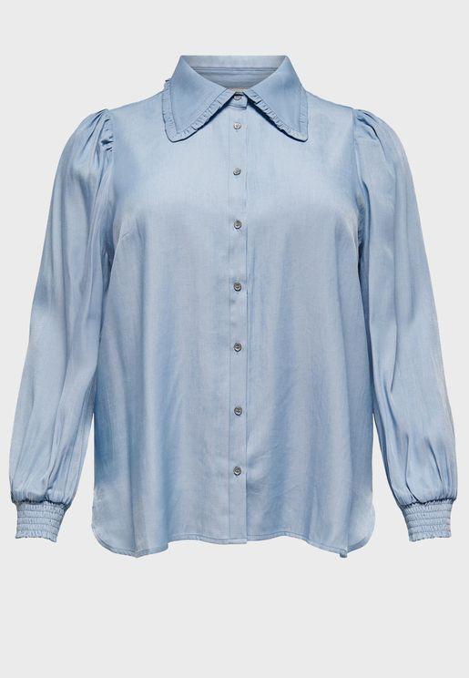 قميص بازرار امامية وكشكش