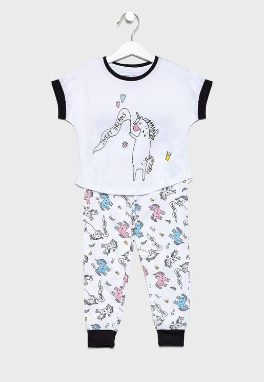 Little Graphic T-Shirt + Printed Pyjama Set