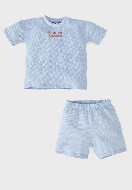 Infant Slogan T-Shirt + Shorts Set