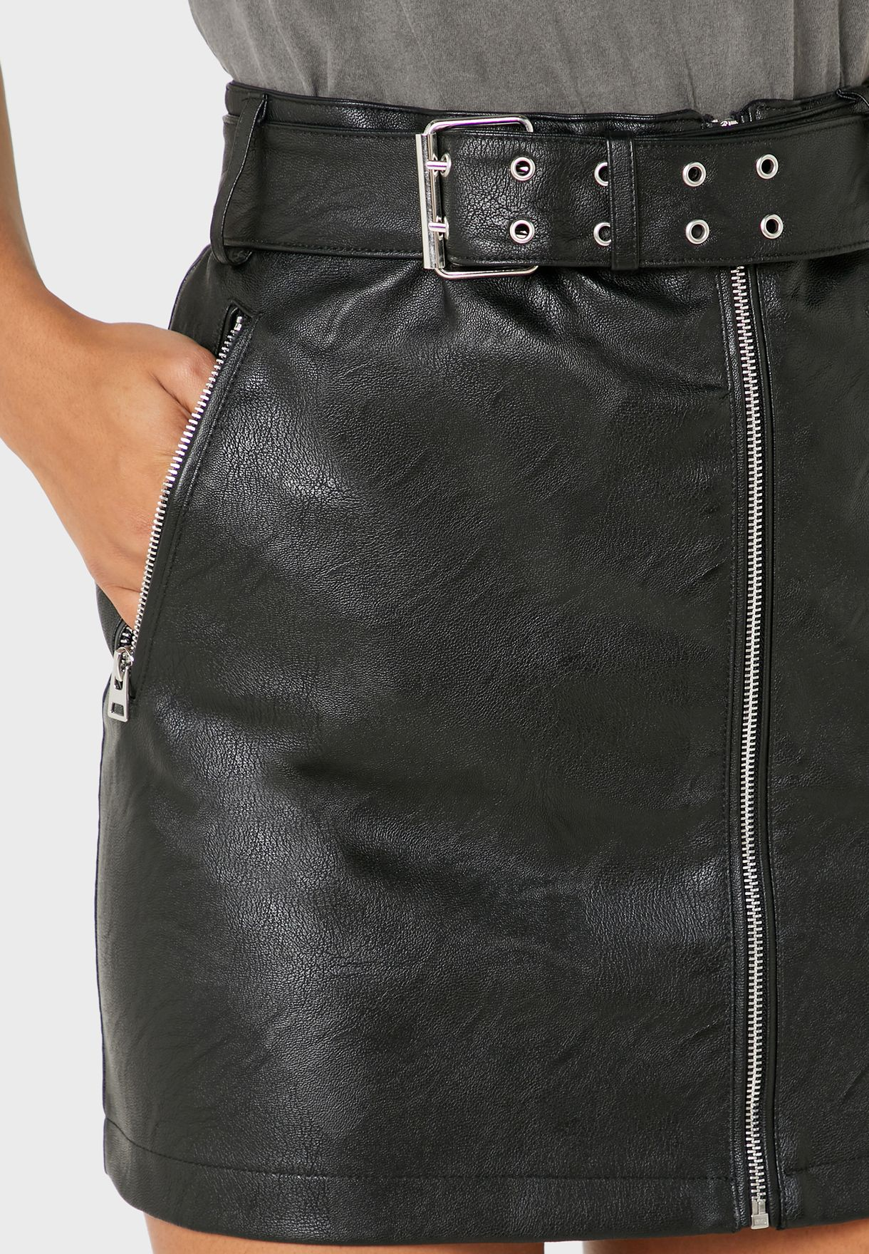 Zip Detail Pu Mini Skirt
