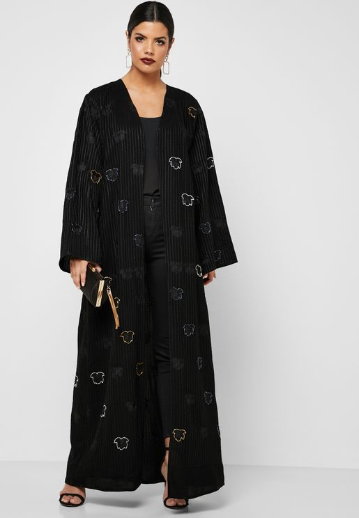 a71a346333 Button Down Handwork Detail Abaya