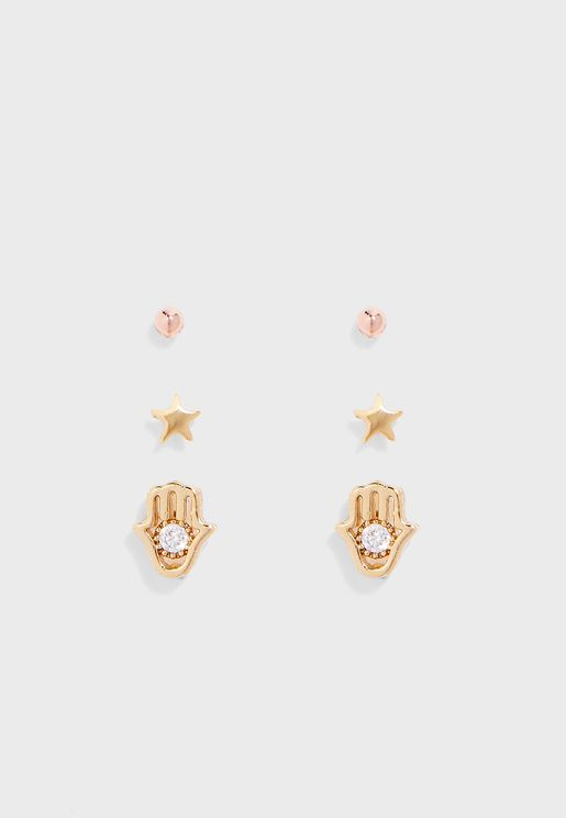 3 Pack Hamsa & Mini Stud Earrings