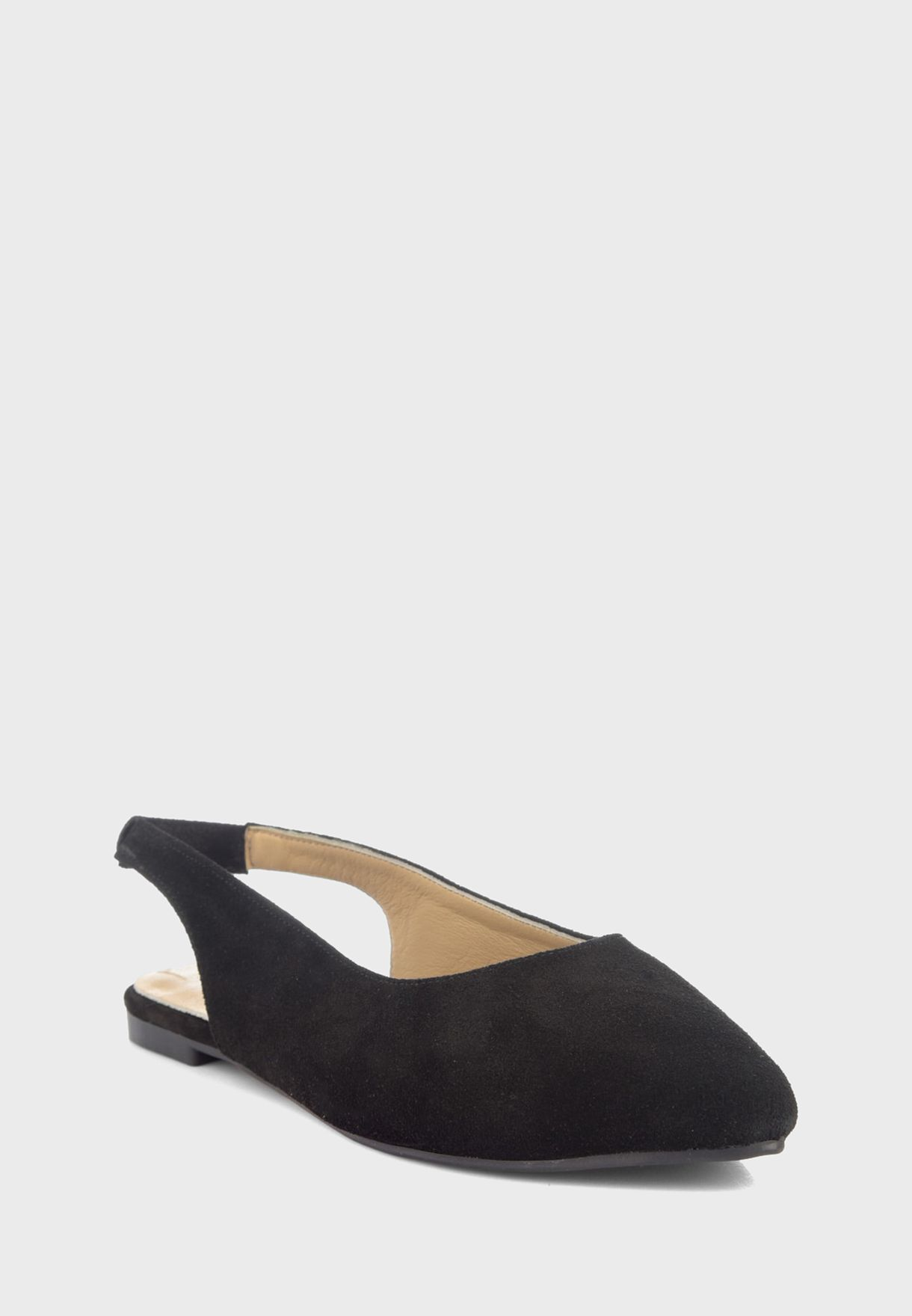 Leather Pointed Toe Low Heel Pump