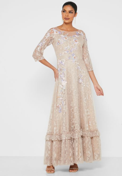 Lace Detail Pleated Drress