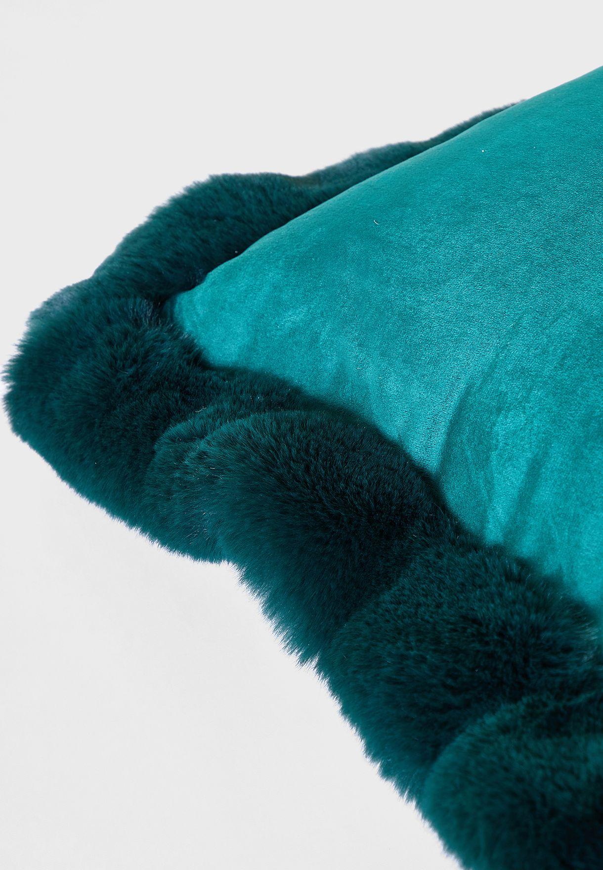 Fur Lined Edge Green Cushion