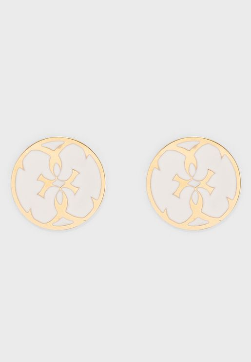 White Enamel Coin Studs
