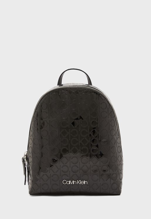 Logo Textured Backpack