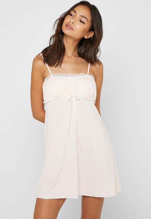 Lace Trim Tie Front Nightdress