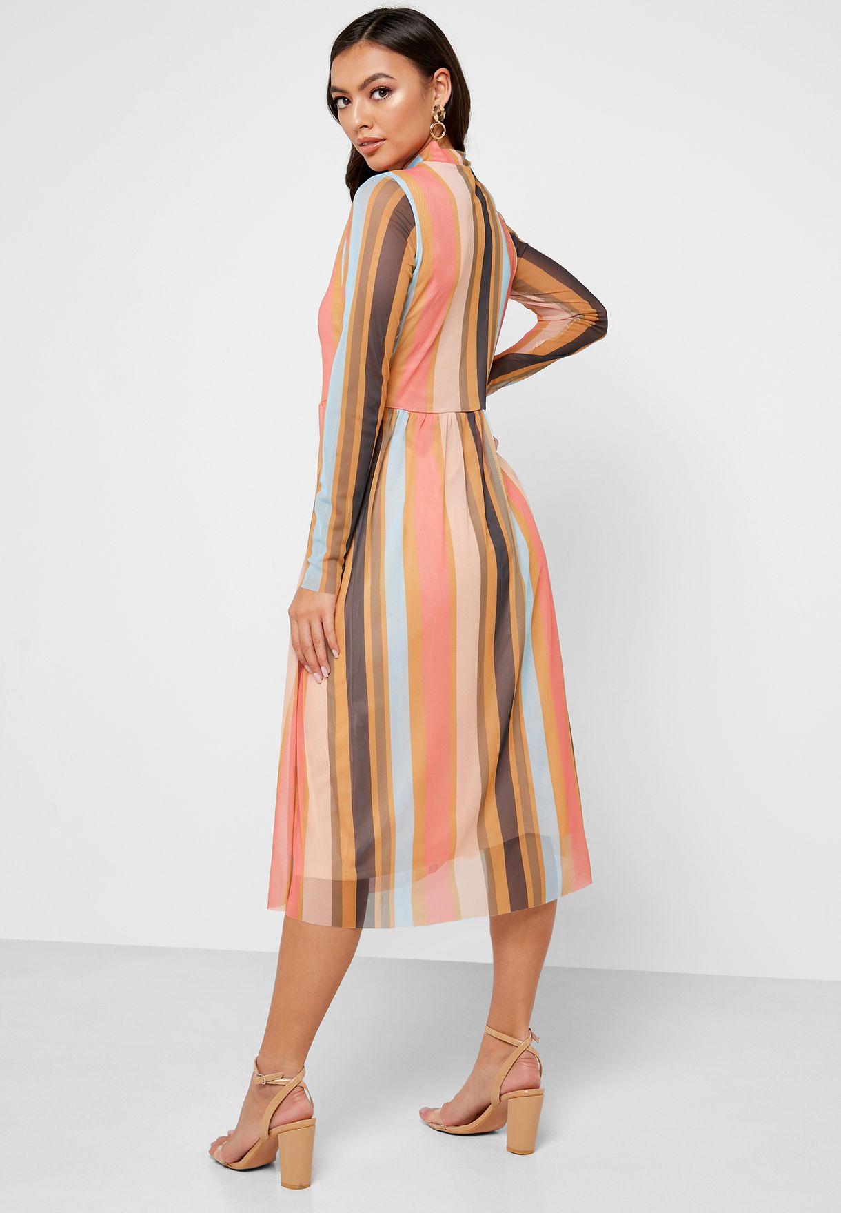 High Neck Striped Dress