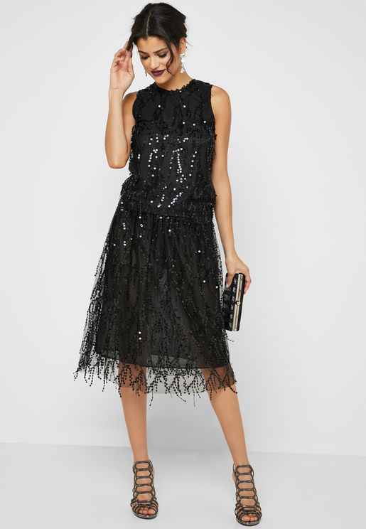 Sequin Midi Skirt Set