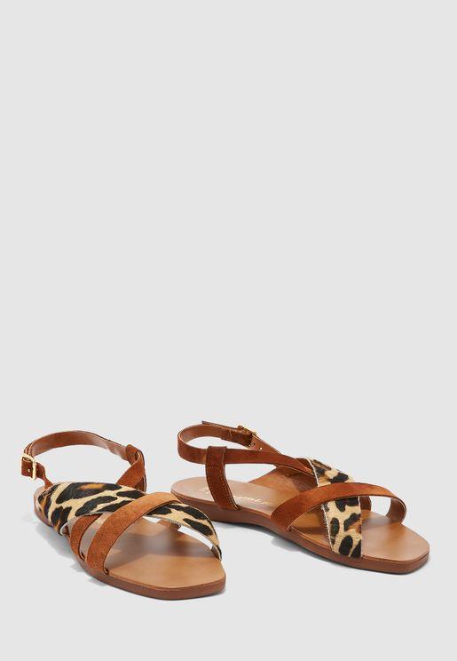 Ankle Strap Flat Sandal - beige