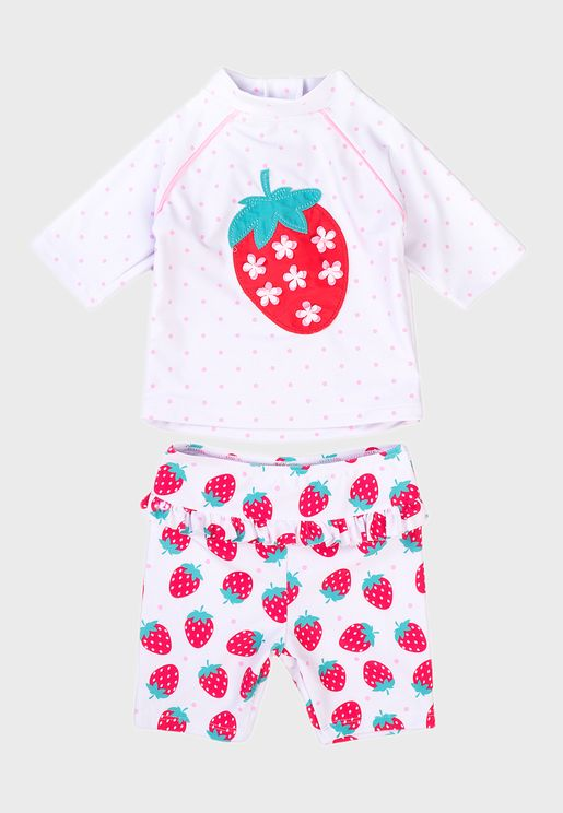 Infant Strawberry 2 Piece Rash Set