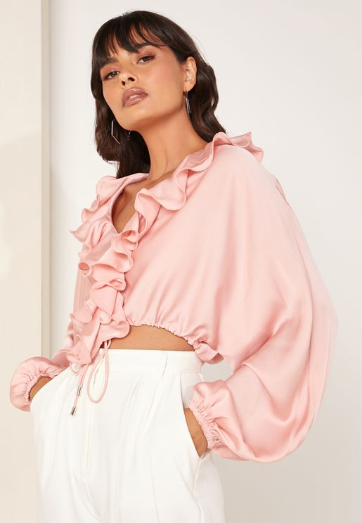 Knowing Of This Ruffle Detail Satin Top