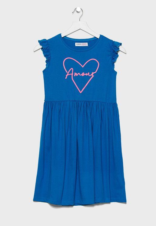 Teen Print Detail Dress
