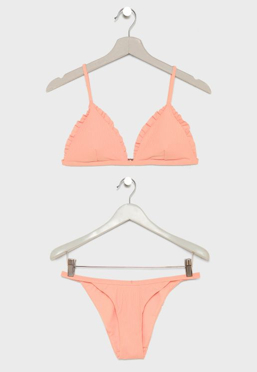 Ribbed Frill Edge Triangle Bikini Set