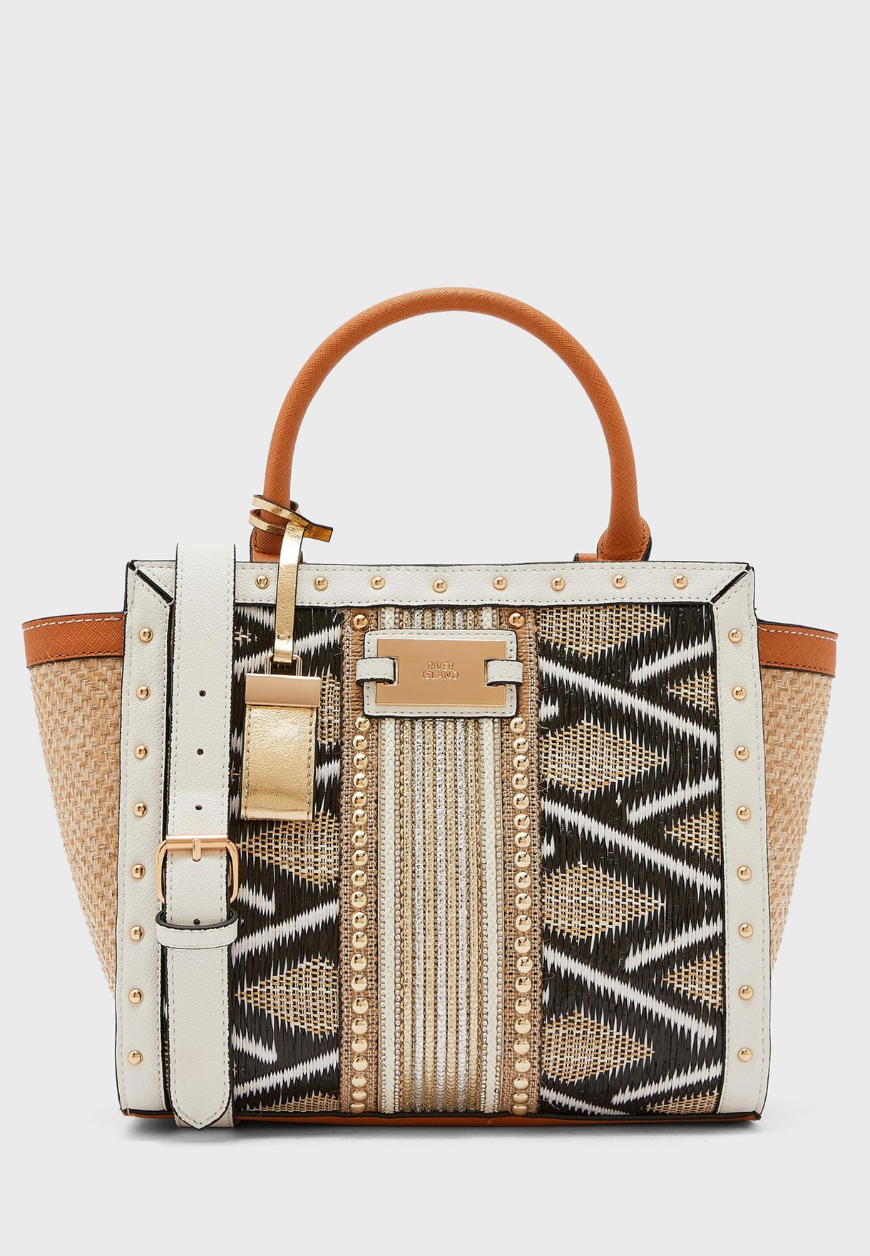 Weave Embellished Stud Wing Tote