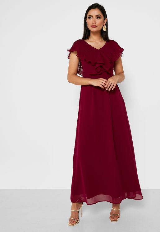 Ruffle Detail Pleated Dress