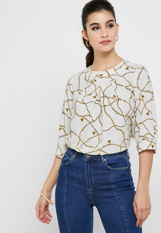 Chain Print Round Neck Top
