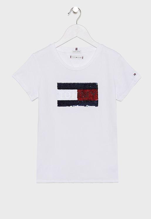 Teen Flag Flip Sequins T-Shirt