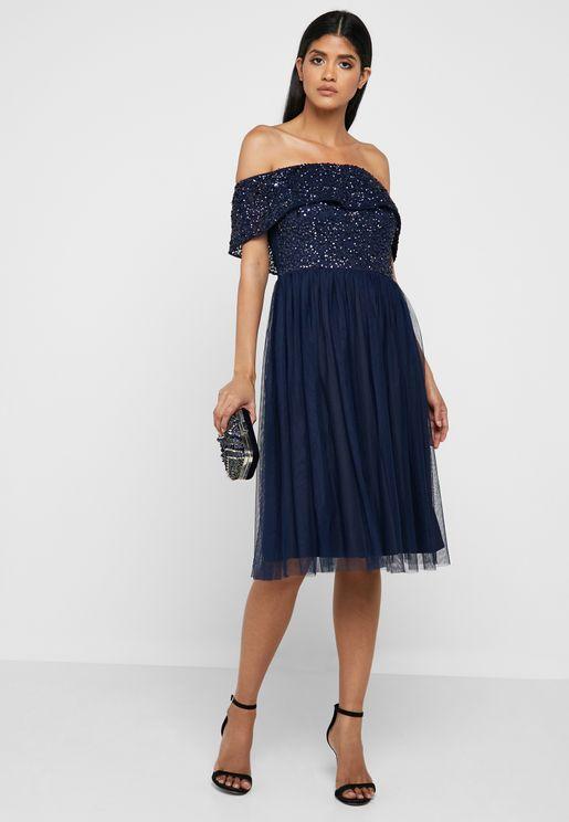 Sequin Bardot Dress