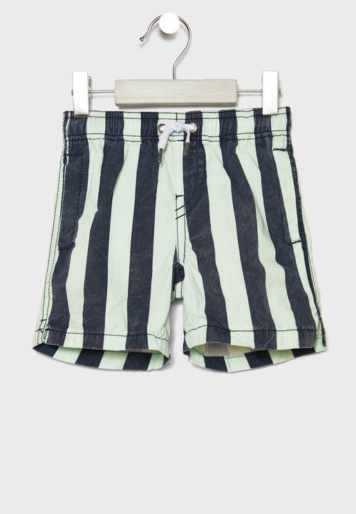 Kids Striped  Swim Shorts