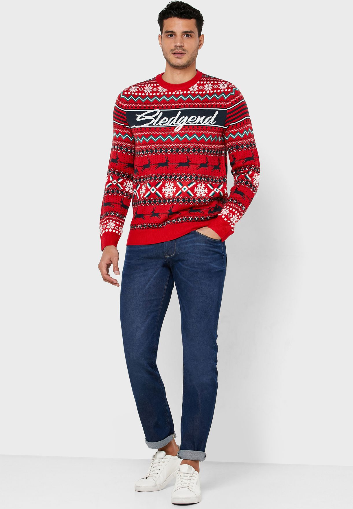 Sledgend Printed Knitted Sweater