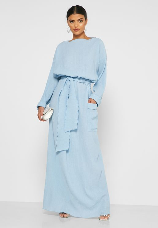Belted Pocket Maxi Dress