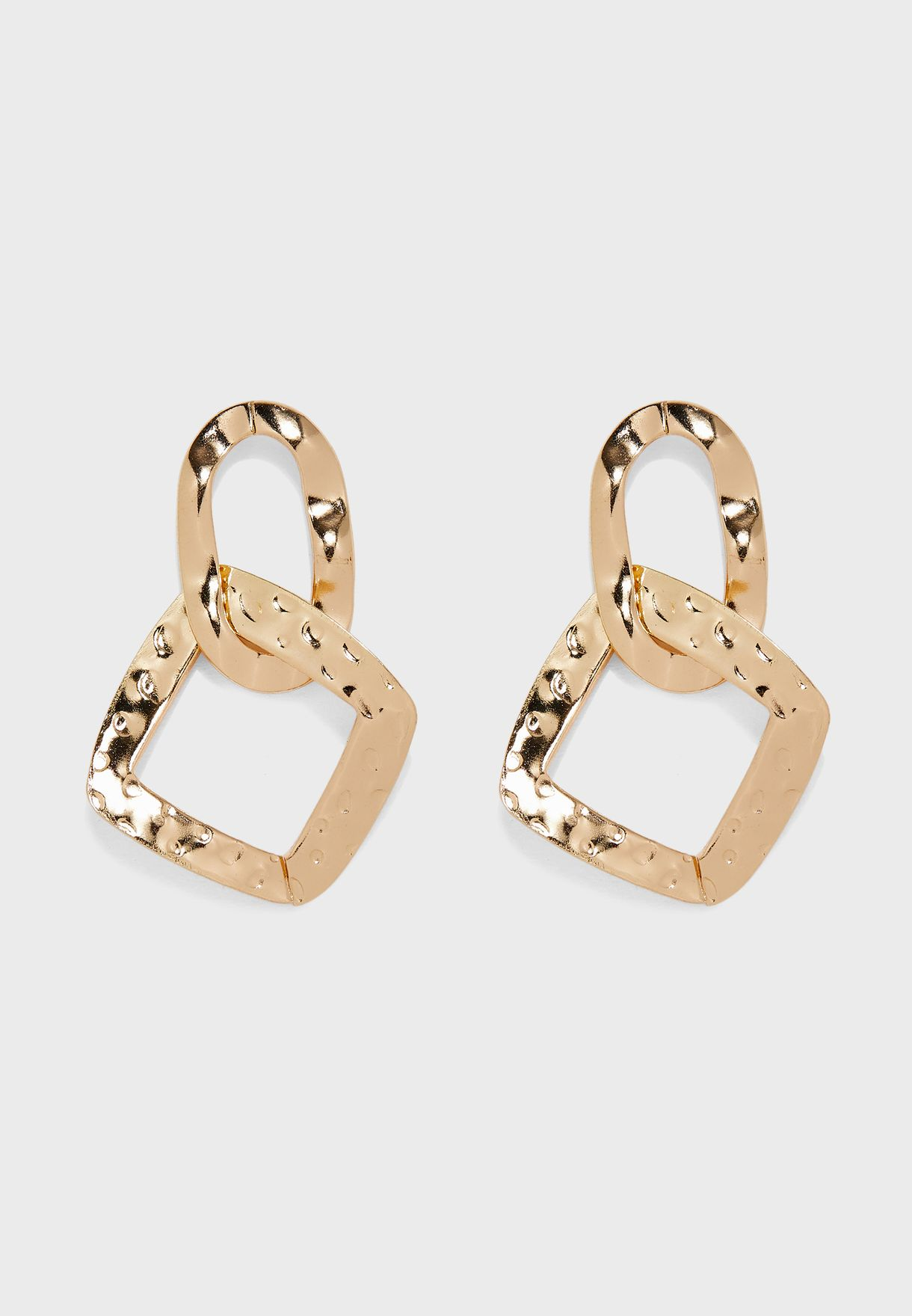 Hannered Drop Link Earrings