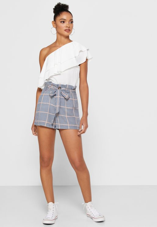 Paperbag Waist Checked Shorts