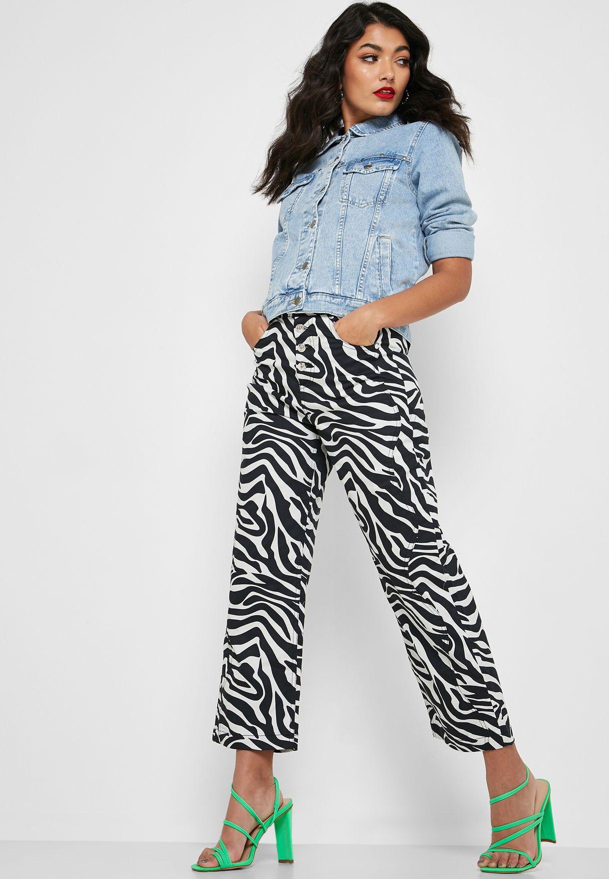 Wide Leg Zebra Print Jeans