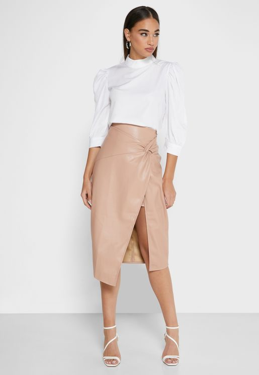 Twist Wrap Midi Skirt