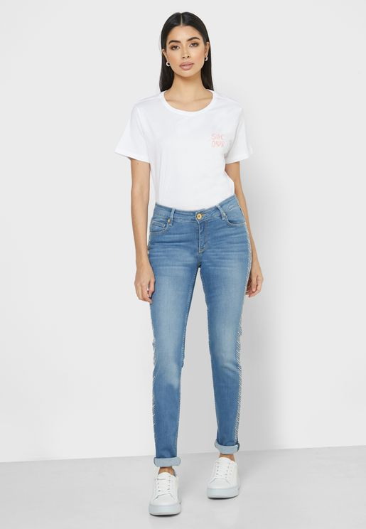 Embroidered Side Roll Hem Jeans