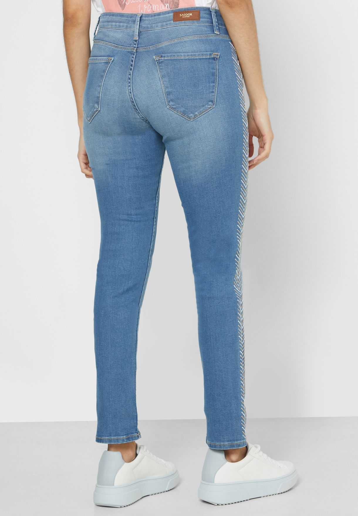 Embroidered Side Roll Hem Jeans