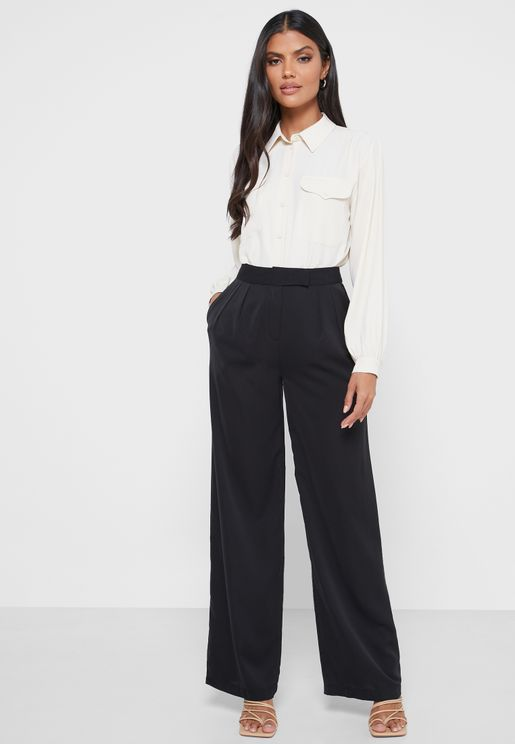 Pleat Detail Straight Pants