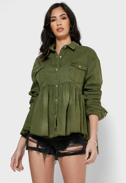 Dylan Pleated Denim Shirt