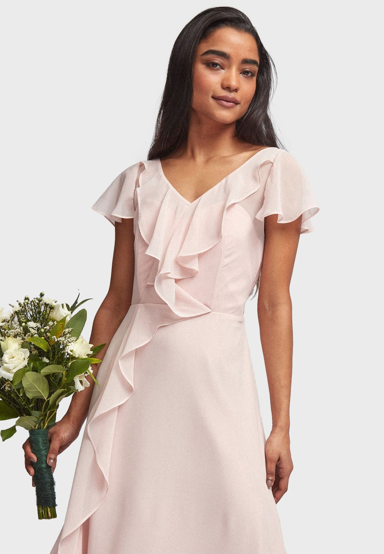 Tie Waist Ruffle Detail Dress