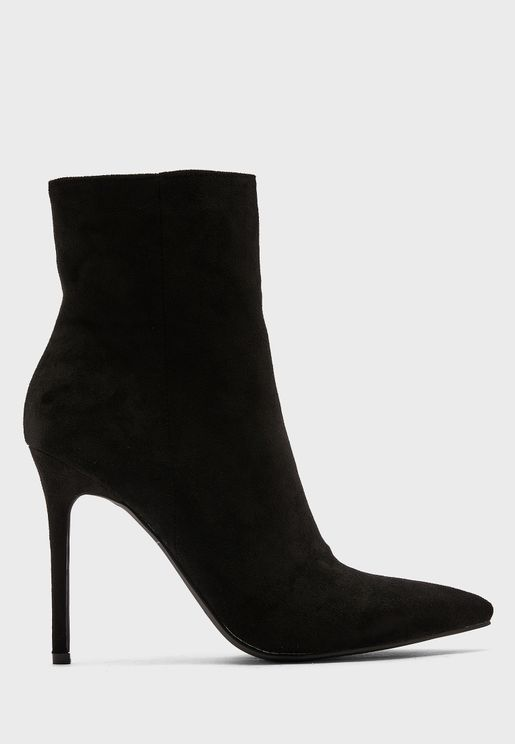 Faux Suede Pointed Stiletto Boot